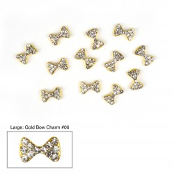 Gold Bow Charms #06 - (Large 10 pcs)